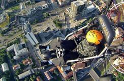 Flying over the roofs of the city of Sarajevo